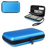 Hongfa 1Nintendo 3DS XL Schutzhülle mit 8Spiel Halter Ersatz Hard Schutzhülle für Nintendo 3DS XL, Neuer 3DS, 3DS XL, (Pink) Hard Cover–Mesh Zubehör Tasche–Tragegurt 1PCS3DSXL Case-Blue