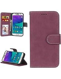 Funda Samsung Galaxy S6 Elegante Acabado Mate Case Libro Suave Piel PU Cuero Cover Plegable Carcasa Caso [Función de Soporte] Cierre Magnético Ranuras para Tarjetas y Billetera - Rosa Roja