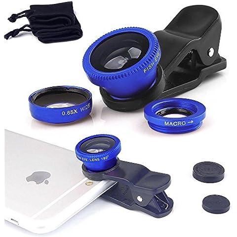 Fone-Case Blue Huawei G9 Plus Clip universale Il 3 in 1 Mobile Phone Camera Lens Kit 180 gradi Fisheye + Macro Lens + obiettivo grandangolare per Android e IOS