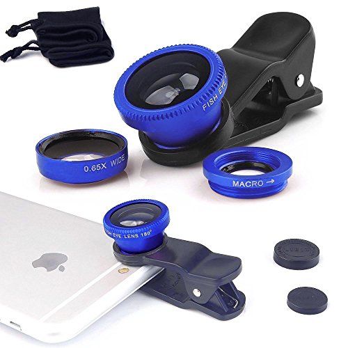 Fone-Case Blue ZTE Axon 7 Mini Universal Clip On 3 in 1 Mobile Phone Camera Lens Kit 180 Degree Fish Eye Lens + Macro Lens + Wide Angle Lens for Android and IOS