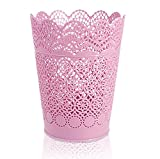 Leisial Corbeilles à papier en Plastique Poubelle à papier Organisateur Style dentelle creux Corbeille Poubelle