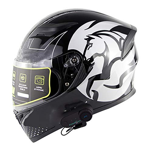 NAN® Flip Bluetooth Motorradhelm, Musik, Freisprecheinrichtung, Kein Lärm, Multifunktions-Antibeschlag-Doppelspiegelhelm, Offroad-Helm HD Bluetooth Intercom Helm ECE-Standard,L