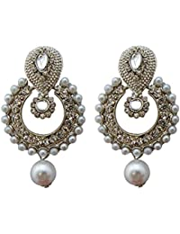 Designer Silver Polish CZ Stone Faux Pearl Ramleela Fashion Earrings For Women And Girls By Shreyadzines