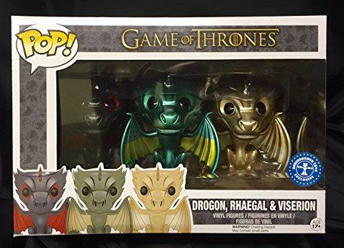 Funko - Set 3 Dragones de 10 cm Drogon, Viserion, Rhaegal (PDF00005449)