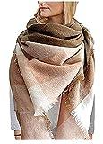 heekpek Damen Großer Schal Karierter Übergroße Quadratische Decke Schal Herbst Schal Winter Warme Schal Karierter Tartan Streifen Plaid Pattern Poncho Schal mit Quaste (Rosa)