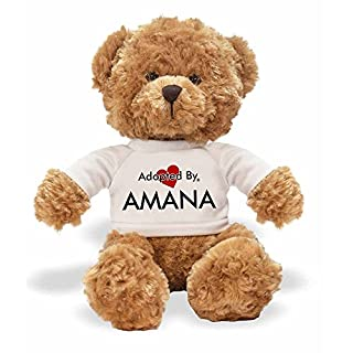 Adopted By TB1 Amana Teddy Bear Wearing a Personalised Name T-Shirt