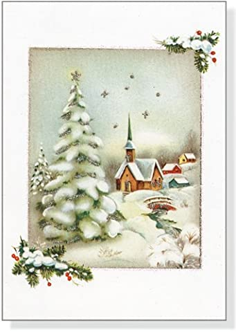 Vintage Winter Church Boxed Christmas Cards (Greeting Cards)