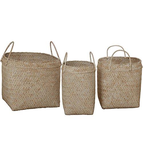 DonRegaloWeb, Set mit 3Körben aus Bambus geflochten mit Griffen in weiß -
