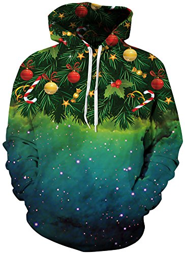 TDOLAH Herren Bunt Digitaldruck Kapuzenpullover 3D-Druck Hoodie Langarm Pullover Sweatshirts (Größe XXL / 3XL, Weihnachtsbaum)