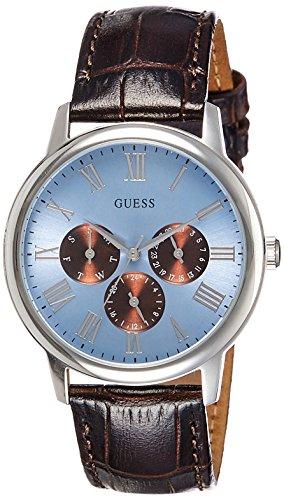 Guess Herren Multi Zifferblatt Quarz Uhr mit Leder Armband W0496G2 - Chocolate Brown Croc
