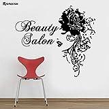 jiushizq Salon de beauté Sticker Femme Fleurs Rotin Papillon Autocollant en Vinyle Home Decor Décoration Intérieure pour Chambre Rose L 64x57 cm
