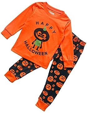 DYLH Halloween Pijama Algodón Conjunto Ropa Deportiva Camisetas y Pantalones para Niños
