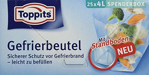 Toppits Gefrierbeutel, 4 Liter, Standboden, 25 Stück, Transparent