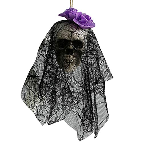 Symboat espeluznate esqueleto de espuma para Halloween accesorios colgantes decoración de noche cráneo favorito con encaje negro