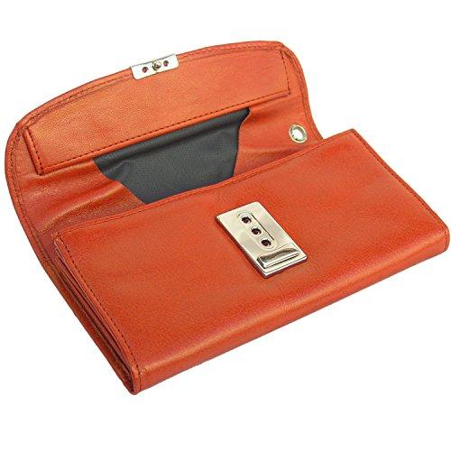 Orange-nappa Leder (hHmosons 1015, Profi Kellnerbörse/Kellnergeldbeutel aus Nappa-Leder, für Damen und Herren, Orange)
