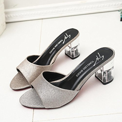 Bescita Frauen Mode Sommer Mid Heel Flip Flop Sandalen Slipper Böhmen Schuhe Gold