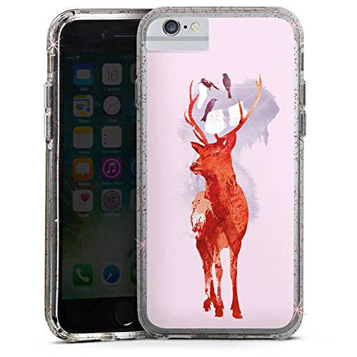 Apple iPhone 6 Bumper Hülle Bumper Case Glitzer Hülle Hirsch Deer Art Bumper Case Glitzer rose gold