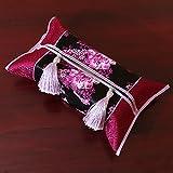 DHWJ Hand-Nähen Stoff Tissue Box Restaurant Toilettenpapier-E 38x22cm(15x9inch)