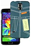 Heartly Jeans Style Printed Design High Quality Hard Bumper Back Case Cover For Samsung Galaxy S5 i9600 - Blue Pocket