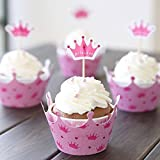 Bluelover 12Pcs Rosa Prinzessin Krone Gebackene Cupcake Cup Papier Muffin Cake Topper