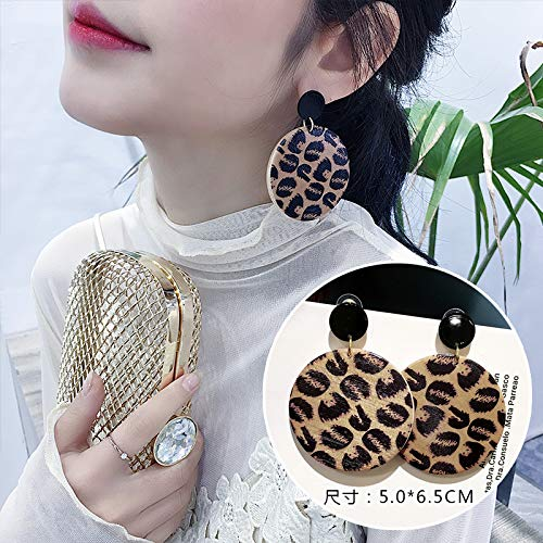 Chwewxi Leopard-Print große Ohrringe Flut Kurze Ohrringe weibliche Temperament Ohrringe Ohrringe Urlaub, Mitesser Leopard