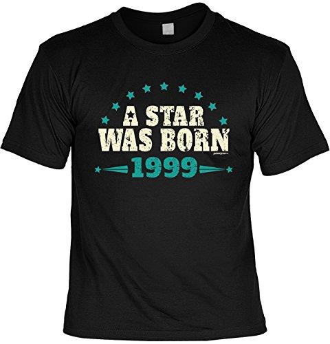Cooles T-Shirt zum 18. Geburtstag a star was born 1999 Geschenk zum 18 Geburtstag 18 Jahre Geburtstagsgeschenk 18-jähriger Schwarz