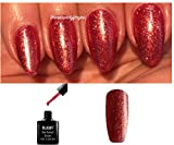 BLUESKY SJ22 Glitzer-Nagellack Gellack, UV-/LED-Lack, Soak-Off-Lack, Farbton Crystal Crimson (Rot glitzernd) 10 ml, plus 2 LuvliNail-Glanztücher