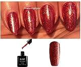 BLUESKY SJ22Glitzer-Nagellack Gellack, UV-/LED-Lack, Soak-Off-Lack, Farbton Crystal Crimson (Rot glitzernd) 10ml, plus 2LuvliNail-Glanztücher