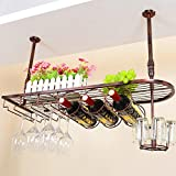 YANGMAN Support à vin en métal monté au Mur, Support de gobelet Suspendu Support de vin inversé Porte-gobelets pour Restaurant Salon Bar 80x25x25 cm,Bronze