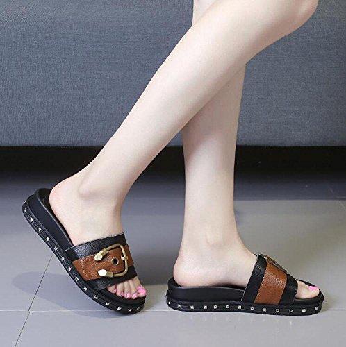 Frauen Open Toe Leder Sandalen Gürtelschnalle Metall Dekoration Flat Sandy Bottom Hose Slim Slippers Maultier Black