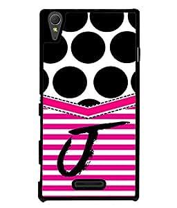 Fuson Designer Back Case Cover for Sony Xperia T3 (Black Lines Bars Blinds English Alphabet J)
