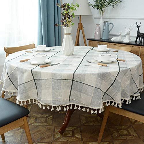 Haoxp multiuso per interni e esterni, trattamento antimacchia, lavabile tavolo da pranzo rotondo tavolo da caffè rotondo tovaglia c_ diametro 180 cm