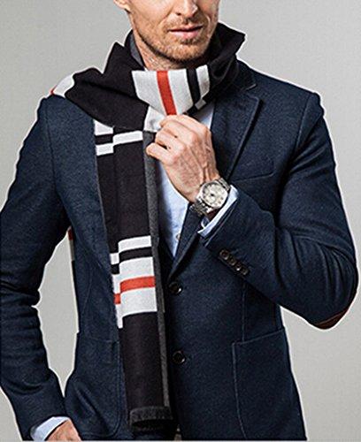 Panegy - Echarpe Homme Hiver Longue en Cachemire d'imitation Chaude À Carreuax Classique 180*30cm Couleurs Divers Gris+Noir