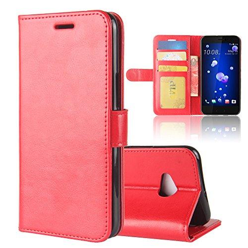 HTC U11 Life Case, Premium PU Leather Wallet Pouch Flip Cover Case Anti-Scratch Defender CoverLeather Case for HTC U11 Life (Red) Htc Touch Defender Case