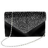Bolso de mano bolso bolso Clutch Mujer Bag bolso bolsillos pequeño bolso de hombro para mujer con satén brillantes de remaches para Fiesta Boda día la compra, Negro