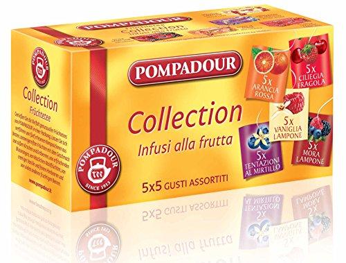 Pompadour - Infusione per Bevande Calde, Infusi alla Frutta, 5 Gusti Assortiti - 25 filtri - [confezione da 3] - Cinque Frutti