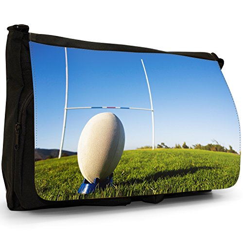 Fancy A Bag Borsa Messenger nero Rugby Ball on Tee in Front of Goal large Rugby Ball on Tee in Front of Goal