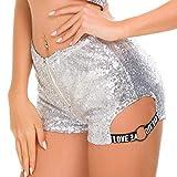 HUBINGRONG Mujeres Sexy Lentejuelas de Cintura Alta Carta Cortos Shorts DS Disfraces líder Dance Bar DJ Discoteca Cantante Rendimiento Ropa (Color : White, Size : M)