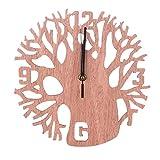 ZYUEER Horloge Murale, Silencieuse Pendule Murales Originale en Bois Industriel Decoration Maison Pas Cher (Marron)