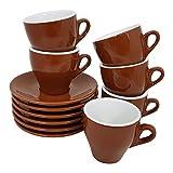 Cappuccino Tassen einfarbig braun, 6 Stück mit Unterteller Classic Made in Italy