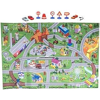 Smartweb 120 x 80cm Spielteppich inkl. 9 TLG. Zubehör Kinderteppich Straßenteppich Kinderzimmer
