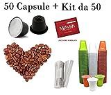 Love Caffè 50 Capsule comp. Nespresso e Kit 50 accessori - Tostatura Lieve Gusto Delicato ed Aromatico - Per chi ama il gusto morbido e cremoso