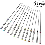 BESTONZON 12pcs 24cm Stainless Steel Fondue Forks Cheese Fondue Forks With Heat Resistant Handle For Chocolate Fountain Cheese Fondue Roast Marshmallows