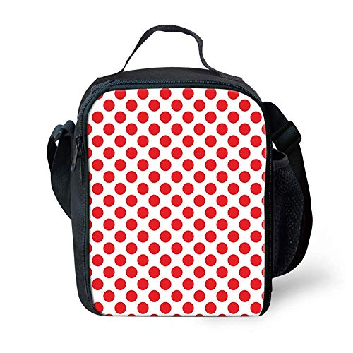 Lunch Bag Tote Boxes Bags Insulated LunchBags 50s 60s Old Pop Art Retro Vintage Polka Dots Rounds Circles Decor Art Print,Lunch Box for Men/Women Boys/Girls Kids -