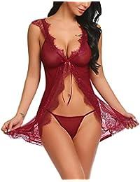 a0144fe2ce Scallop Mujer Conjunto de Lencería Cmiasón Sexy Ropa Erótica Pijama Encaje  y Tul Abierta Picardías