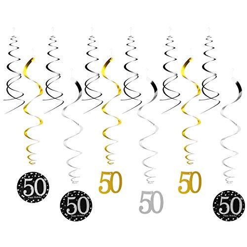 LUOEM Decoracion 50 Cumpleaños Decoracion Colgante Remolinos 12 Piezas