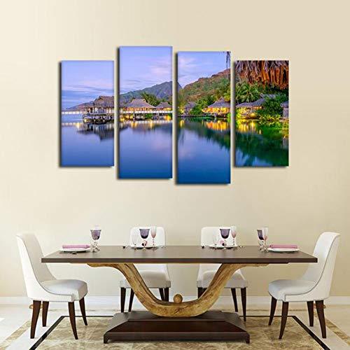 WOKCL Leinwanddruck Haus Kunst Landschaft Tahitian Bungalow In Der Abenddämmerung 4 Panels Wandbild Dekoration Leinwand Für Wohnzimmer Modulare Gedruckt Malerei -