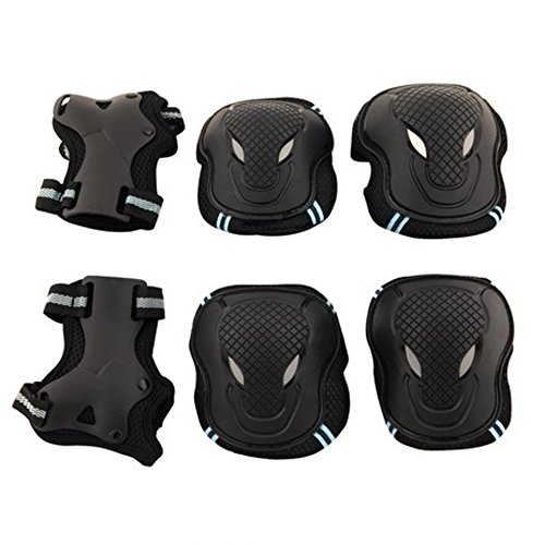 Fvstar Knee Pads 6 in 1 Thicken Elbow Wrist Protective Gear for Skateboard Cycling Roller Skating Outdoor Sport Blading for Kids Birthday Gifts (L:14 years old and Adult, Blue)