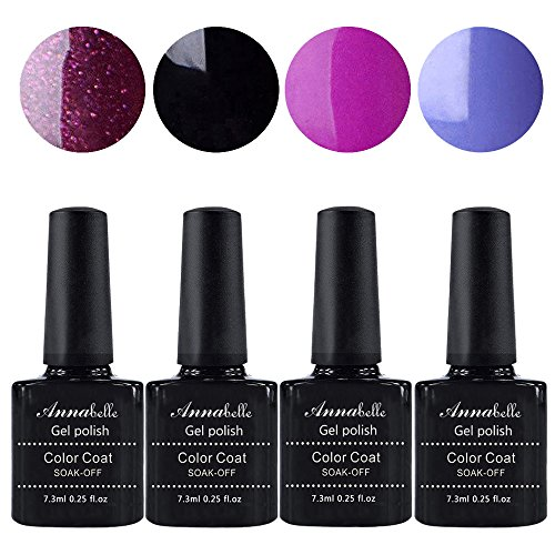 Annabelle UV Nagellack Soak Off UV Gel Nagellack Nail Art Top Coat Base Coat (7.3ml/pc Lot de 4) 014
