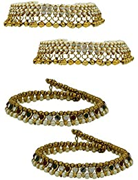 High Trendz Combo Of Two Bollywood Style Ethnic Gold Plated Anklets With Ghungroos, Cz Stones And Kundan Studded... - B06XJ6B9GT